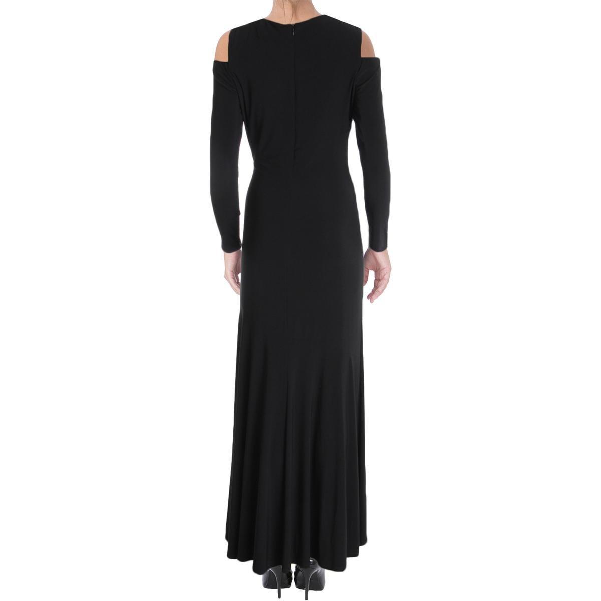 c1d095047f4 Lauren Ralph Lauren Womens Matte Jersey Cold Shoulder Evening Dress Black 2  at Amazon Women s Clothing store
