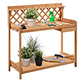 Giantex Potting Bench Outdoor Garden Work Bench Station Planting Solid Wood Construction with Side Drawer Rack Shelves 45.25'' L x 20'' W x 45'' H, Natural