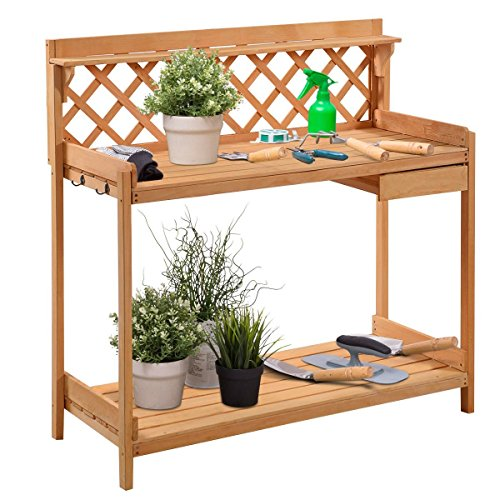 Giantex Potting Bench Outdoor Garden Work Bench Station Planting Solid Wood Construction with Side Drawer Rack Shelves 45.25' L x 20' W x 45' H, Natural