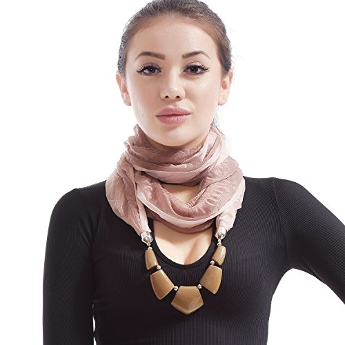 LERDU Women's Infinity Scarf Necklace Gift Idea jewelry Pendant Scarfs Soft Long Infinity Scarves Brown Marble