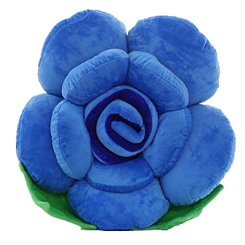 Paao Soft Plush Party Decor Toy Pillow Cushions Lovely Rose Flower Shape Christmas Gift,Blue