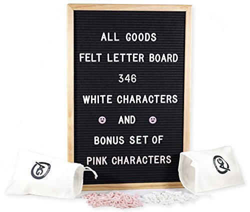 Felt Letter Board | 12x18 inch Oak Frame & Black Felt | 346 White & 346 Pink Changeable Letters, Emojis, Bonus Drawstring Canvas Pouch, and Wood Stand by All Goods