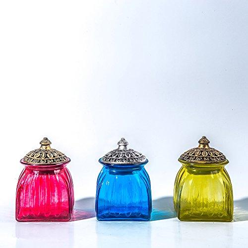 SOCOSY Vintage Crystal Glass Candy Jar with Lid Food Jar Nut Jar Jewelry Box Wedding Candy Buffet Jars Kitchen Storage Jar Assorted Color by SOCOSY (Image #3)
