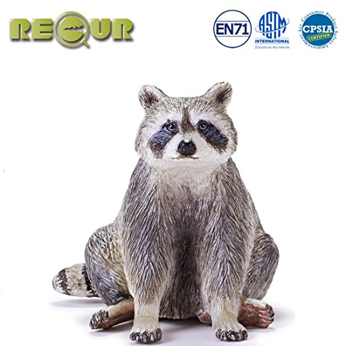 """- RECUR Toys 5.5"""" Raccoon Action Figure Toys, Soft Hand-Painted Skin Texture Toys for Kids- 1:6 Scale Realistic Design Raccoon Replica, Ideal for Collectors, Ages 3 and Up"""
