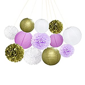 ARDUX 12 Pcs/lot Chinese Paper Lanterns + Paper Flowers Decor for Fiesta Anniversary Birthday Wedding Ceiling Party Supplies Favors Hanging Decoration (Gold + Light Purple + White)