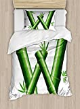 Ambesonne Letter W Duvet Cover Set Twin Size, Bamboo Branches Forming Letter W Zen Spa Themed Alphabet Typeset Green Leaves, Decorative 2 Piece Bedding Set with 1 Pillow Sham, Green White