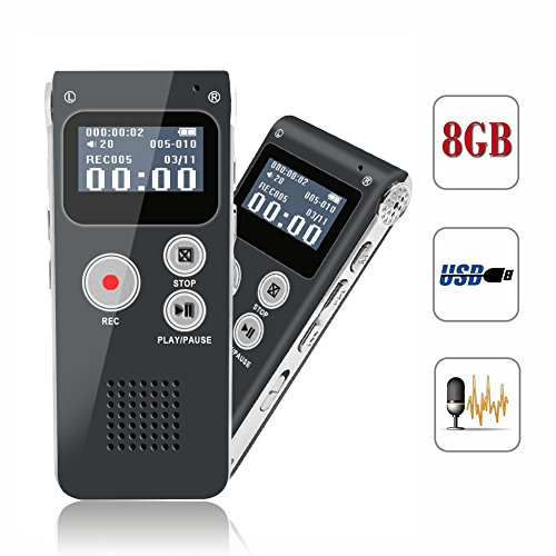 Digital Voice Recorder, Portable Recorder, Multifunctional Rechargeable Dictaphone, FlatLED Audio Voice Recorder Dictaphone, MP3 Music Player with Mini USB Port and Color LCD display, Grey-8GB