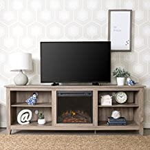 Walker Edison Furniture Wood TV Stand with Fireplace, 70-Inch, Grey