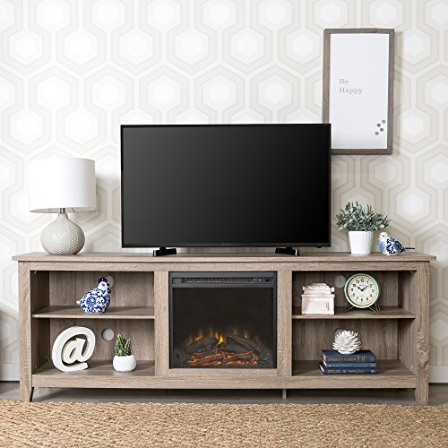 WE Furniture Minimal Farmhouse Wood Fireplace Universal Stand for TV's up to 80
