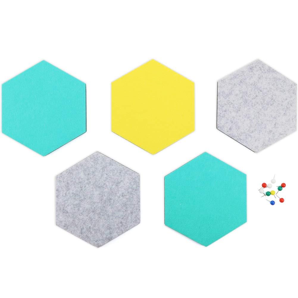 SEG Direct Hexagon Felt Board Gray/Teal / Yellow 5 PCS Set with Push Pins 6.1 x 7.1 x 0.4 inches
