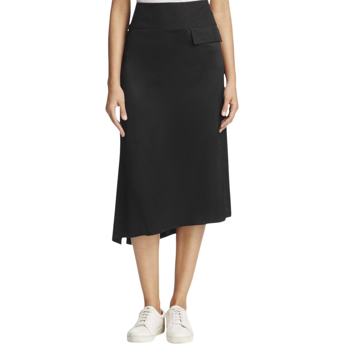 DKNY Womens Asymmetrical Satin A-Line Skirt Black 4