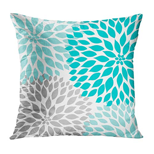 Emvency Throw Pillow Cover Teal White Turquoise Blue Gray Dahlia Mod Baby Decorative Pillow Case Home Decor Square 16 x 16 inch - Bedding Baby Decorative Pillow