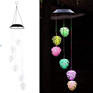 Amazing Wind Chime,Color Changing Pine Cone Solar Wind Mobile Chimes Lights Hanging Wind Bell Light Night Hanging lamp for Patio Garden Lighting Home Decoration with Spinning Hook