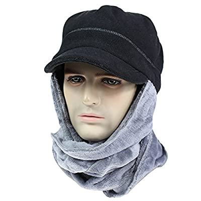 Connectyle Thick Fleece Winter Hat with Attached Scarf Double layers Warm Hoodie Hat