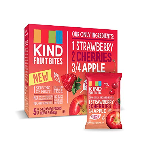 KIND Fruit Bites Fruit Snacks, Strawberry Cherry Apple, No Sugar Added, Gluten Free, .6oz, 40 Count ()