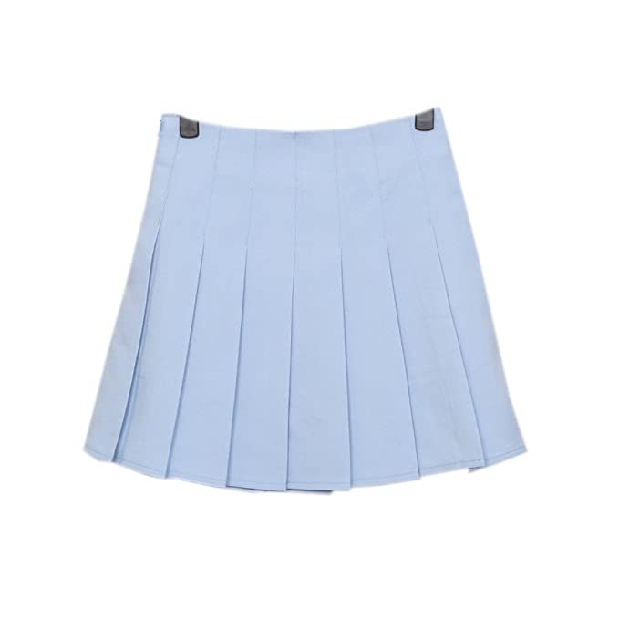 3a18987f5c Harajuku Pastel Baby Blue Pleated Skirts for Womens at Amazon ...
