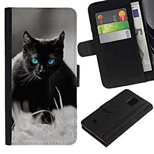 Samsung Galaxy S5 Mini / SM-G800 (Not For S5!!!) , la tarjeta de Crédito Slots PU Funda de cuero Monedero caso cubierta de piel ( Cute Black Cat Siamese White Pet Kitten)