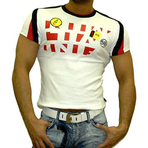 Rusty Neal Kurzarm Slim Fit Herren Rundhals Shirt Motiv T-Shirt Weiß RN-603 Neu