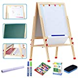 LINAZI Kids Standing Art Easel with Paper Roll and Accessories,Height Adjustable Magnetic Chalk