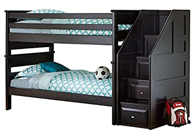 Catalina Black Twin Bunk Bed With Staircase
