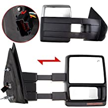 Scitoo Side View Mirrors For 2007-2014 Ford F-150 Power Heated Led Turn Signal Puddle Lamp Chrome Cover Tow Towing Mirror Pair