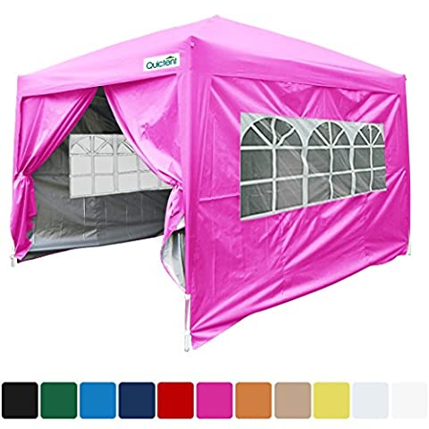 Quictent Silvox10x10 EZ Pop Up Party Tent Canopy Multifunctional tent Camping tent /Party tent/Commercial tent Gazebo 8.7 ft height 4 Walls W/ Free Carry Bag Waterproof-7 (Pop Up Shelter Side)