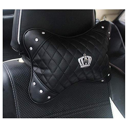 Dongcrystal PU Leather Car Neck Pillow Bling Crown Diamond Headrest Neck Cushion Cervical Support Pillow - 1PC
