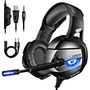 #LightningDeal ONIKUMA Gaming Headset Xbox One Headset Upgrade PS4 Headset [2019 K5 Pro] with Noise Canceling Mic &7.1 Surround Bass, Over Ear Gaming Headphones with LED Light for Xbox One, PS4, PC, Mac, Laptop, NS