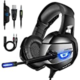 ONIKUMA Gaming Headset for Xbox One, PS4 Headset with Noise Canceling Mic & 7.1 Stereo Surround Bass, Xbox One Headset with LED Light, Over Ear Headphones for Xbox One, PS4, PC, Mac, Laptop, NS Games