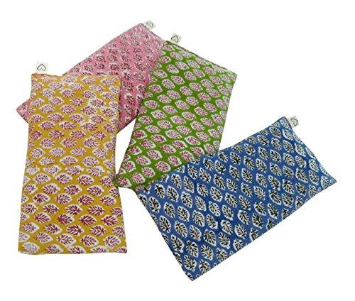 Scented Eye Pillows - Pack of (4) - Soft Cotton 4 x 8.5 - Organic Lavender Flax Seed - hand block print India - leaf blue yellow pink green by Peacegoods (Image #4)