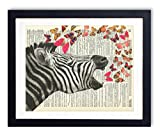 Zebra With Butterflies Upcycled Vintage Dictionary Art Print 8x10