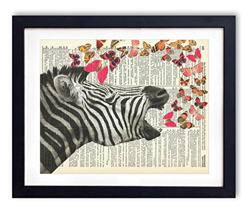 Vintage Zebra - Zebra With Butterflies Upcycled Vintage Dictionary Art Print 8x10