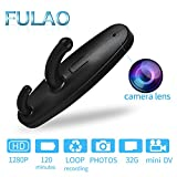 FULAO Hidden Spy Clothes Hook Cam Surveillance Full HD Covert 1280p Security Home Recorder Camera Black