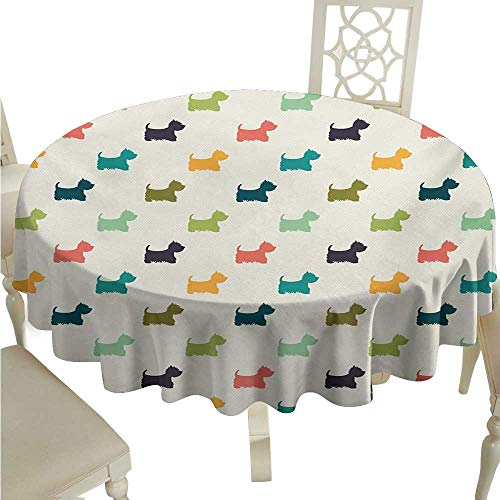 Willsd Stain-Resistant Tablecloth Dog Lover Polka Dotted Animal Silhouettes English Terriers Cute Abstract Pattern Image Easy to Clean D36 Suitable for picnics,queuing,Family