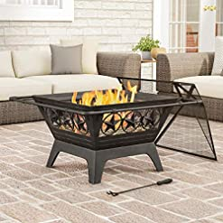 """Fire Pits Pure Garden 50-LG1203 Square Large Steel Bowl with Star Design, Mesh Spark Screen, Log Poker & Storage Cover 32"""" Outdoor… firepits"""