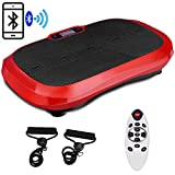 Goplus Fitness Vibration Machine Ultrathin Power Plate Full Body Shape Exercise Machine with Bluetooth Remote Control & Resistance Bands Vibration Workout Trainer (Red)