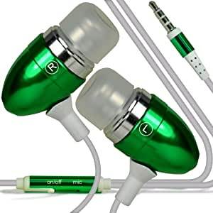 ONX3A® Nokia Lumia 630 / Nokia lumia 635 (Green)Premium Quality Aluminium In Ear Earbud Stereo Hands Free Headphones Earphone Headset with Built in Microphone Mic & On-Off Button, [Importado de Reino Unido]