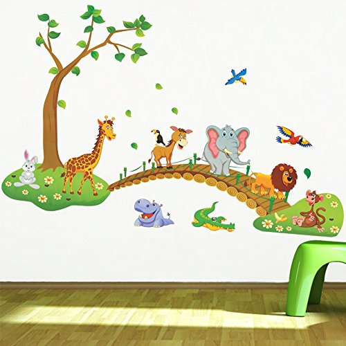IMoan 3D Cartoon Jungle Wild Animal Tree Bridge Lion Giraffe Elephant Birds Flowers Wall Stickers for Kids Room Living Room Home ()