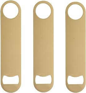 Stainless Steel Flat Bottle Opener, 3 PACK Heavy Duty Beer Bottle Opener for Kitchen, Bar or Restaurant (3, Gold)