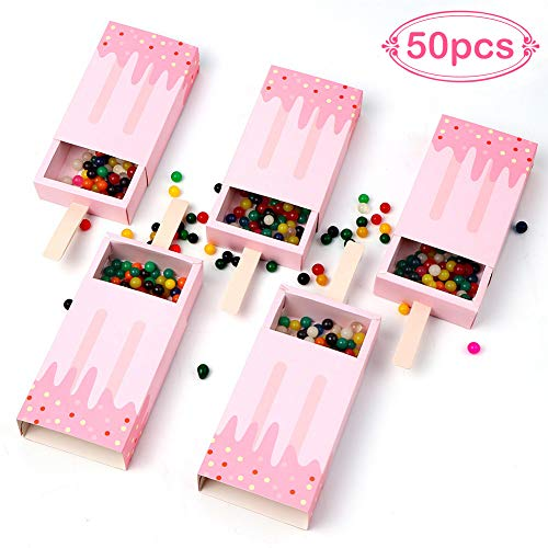 AerWo 50pcs Mini Ice Cream Shape Candy Boxes, Cute Baby Shower Favors Boxes Gifts Bags for Baby Shower Birthday Party Decoration, Pink -