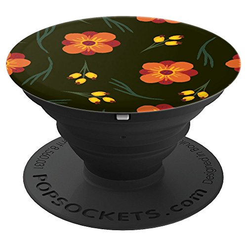 Assorted Flowers Orange - Gift - Background Floral Design - PopSockets Grip and Stand for Phones and Tablets