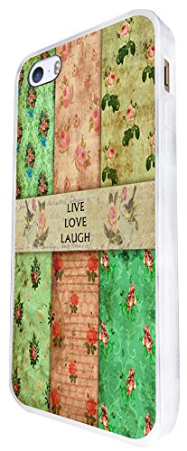 086 - Vintage Shabby Chic Live Love Laugh Floral Roses Design iphone SE - 2016 Coque Fashion Trend Case Coque Protection Cover plastique et métal - Blanc