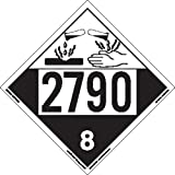 Labelmaster ZVR42790 UN 2790 Corrosive Hazmat Placard, Removable Vinyl (Pack of 25)