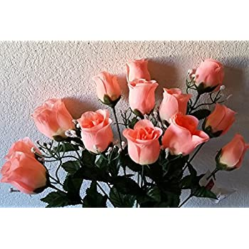 Amazon coral silk rose bud flower bush home kitchen coral silk rose bud flower bush mightylinksfo Image collections