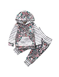 Jarsh Toddler Baby Girls Floral Printed Hooded Tops+Pants Spring Outfits Clothes Set