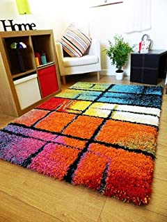 NEW BRIGHT VIBRANT COLOURFUL THICK SHAGGY RUGS FUNKY MODERN RETRO MATS (60  X 120CM)
