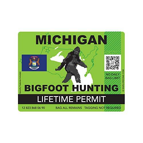 fagraphix Michigan Bigfoot Hunting Permit Sticker Die Cut Decal Sasquatch Lifetime FA Vinyl - 4.00 Wide