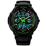 BesWLZ Kids Watch Sport Multifunction Green Led Light Digital Waterproof Electronic Quartz Watches for Boy Girls Kids Gift (Green)