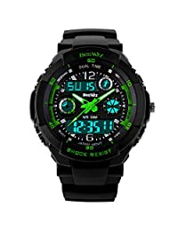 Kid Watch Multi Function Digital LED Sport 50M Waterproof Electronic Analog Quartz Watches for Boy Children (Green)