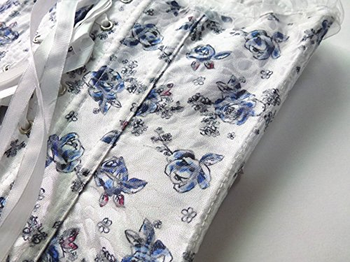 ZAMME Mujeres Encaje Hasta Satén Deshuesado Overbust Bustiers Cintura Entrenador Corsés Bodyshaper Azul